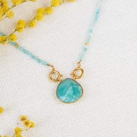 Amazonite pearl and drop necklace JOE - L'atelier des Dames