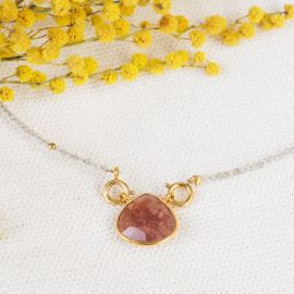 JOE pearl and strawberry quartz stone drop necklace - L'atelier des Dames