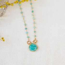 Amazonite stone and drop chain necklace JOE - L'atelier des Dames
