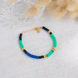 MARGAUX green, black and blue rubber bracelet - L'atelier des Dames