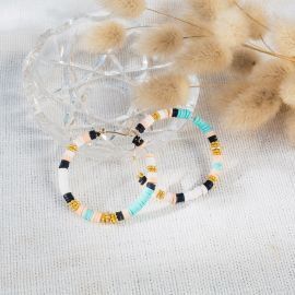 MARGAUX turquoise, black, peach and white rubber hoop earrings - L'atelier des Dames