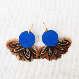 Boucles d'oreilles plumes et cuir PHADREA bleu -