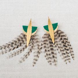 Boucles d'oreilles plumes et cuir LYRE vert -