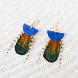Boucles d'oreilles plumes et cuir NOMADES bleu -