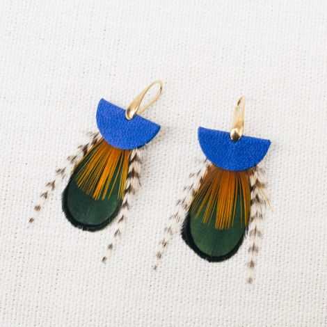 Blue NOMADES earrings with feather and leather