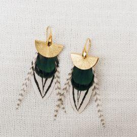 Boucles d'oreilles plumes et cuir NOMADES or jaune -
