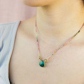 Collier perles et goutte pierre onyx vert JOE - L'atelier des Dames