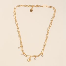 River Stone and Citrine Rectangle Chain Necklace - Rosekafé