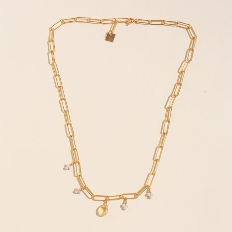 River Stone and Citrine Rectangle Chain Necklace