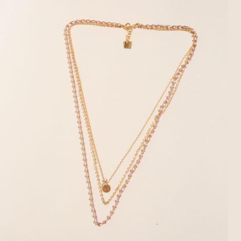 """Necklace 3 rows """"Lola"""", light pink glass beads and golden beaded chain."""