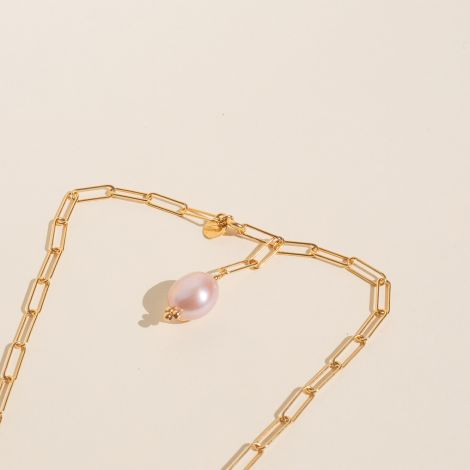 Rectangular chain necklace, and its baroque pink freshwater pearl