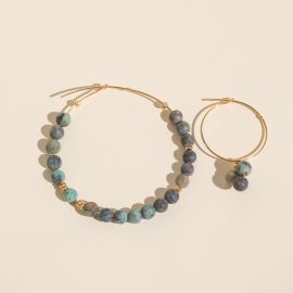 Asymmetrical African turquoise hoop earrings - Rosekafé