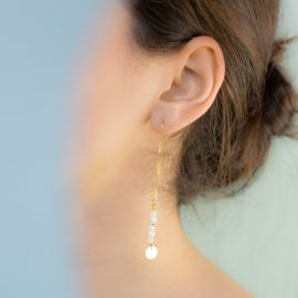 Asymmetrical moonstone earrings - Rosekafé