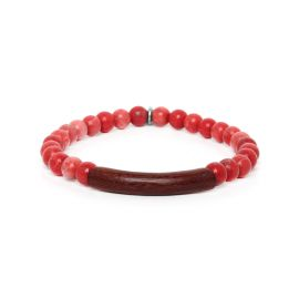 red howlite stretch men bracelet Tube - Nature Bijoux