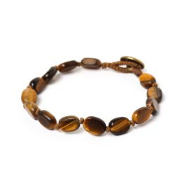 small oval beads men bracelet Tiger eye - Nature Bijoux