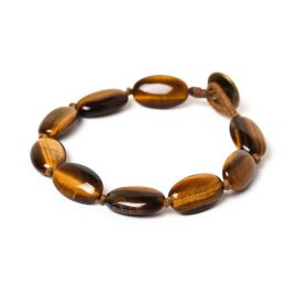 big oval beads men bracelet Tiger eye - Nature Bijoux