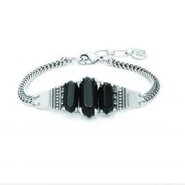 bracelet 3 cabochons onyx Diam's - Ori Tao