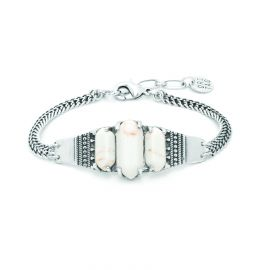 bracelet 3 cabochons Howlite Diam's - Ori Tao