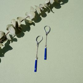 Boucles d'oreilles tiges Œil de Tigre Bleu klein - Amélie Blaise