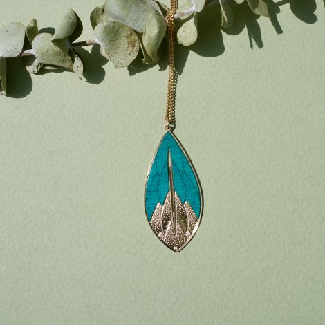 PHYSALIS green wood necklace