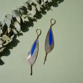 Boucles d'oreilles Pétales bleu Klein - Amélie Blaise