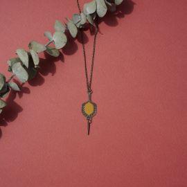 Collier court TOHU-BOHU ambre jaune - Amélie Blaise