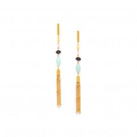 boucles d'oreilles poussoir pompon chaines Helen - Franck Herval