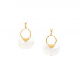 boucles d'oreilles poussoir anneau doré à l'or fin Maria - Franck Herval