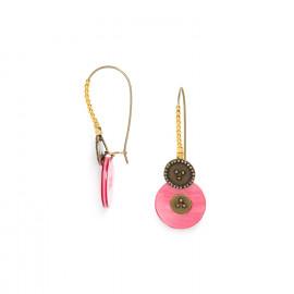 boucles d'oreilles grands crochets perlés roses Scarlett - Franck Herval