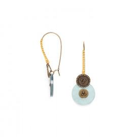 boucles d'oreilles grands crochés perlés bleues Scarlett - Franck Herval