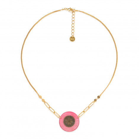 short disc necklace pink Scarlett