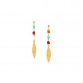 boucles d'oreilles poussoir plume dorée à l'or fin Sora - Franck Herval