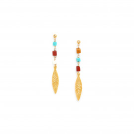 small ball post earring with golden feather Sora - Franck Herval