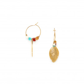 small hoop earring with golden feather Sora - Franck Herval