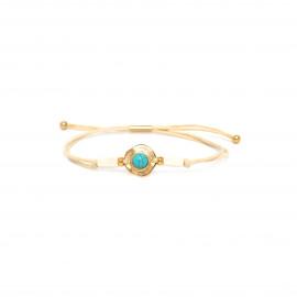 bracelet macramé disque doré à l'or fin Sora - Franck Herval
