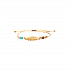 bracelet macramé plume dorée à l'or fin Sora - Franck Herval