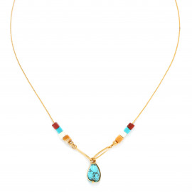 collier court pampille turquoise Sora - Franck Herval