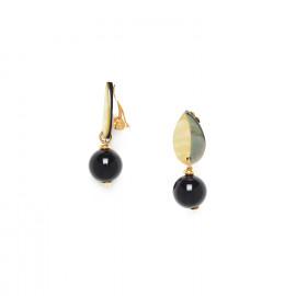 boucles d'oreilles clips perle ronde et feuille Bengali - Nature Bijoux