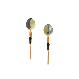 boucles d'oreilles chaine & 3 perles Bengali - Nature Bijoux