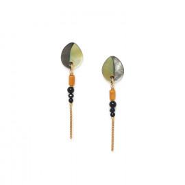 chain & 3 beads earrings Bengali - Nature Bijoux