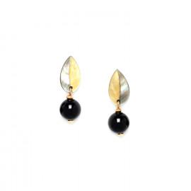 boucles d'oreilles perle ronde & feuille Bengali - Nature Bijoux