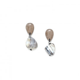 earrings agate and wood Impala - Nature Bijoux