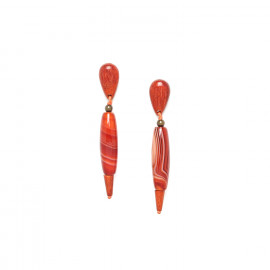 earrings red agate and sibucao Impala - Nature Bijoux