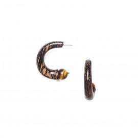 creoles earrings tiger eye and palmwood Impala - Nature Bijoux
