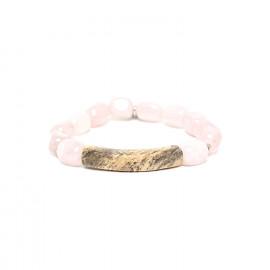 bracelet extensible tamarinier et quartz rose Impala - Nature Bijoux
