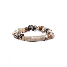 bracelet extensible agate et bois Impala - Nature Bijoux