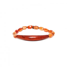stretch bracelet red agate and sibucao Impala - Nature Bijoux