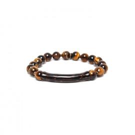 stretch bracelet tiger eye and palmwood Impala - Nature Bijoux