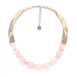 necklace tamarind and pink quartz Impala - Nature Bijoux