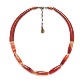 collier agate rouge et sibucao Impala - Nature Bijoux